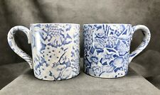 TWO Scilla Lillian Delevoryas Mugs Cups ICTC Burleigh Staffordshire Blue Floral