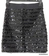 Black Stretch Sequin & Ribbon Tube Body Con Wiggle Mini Skirt  Fits XS