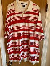 MARITHE FRANÇOIS GRIMAUD Men's Short Sleeve Polo Shirt Size XXL Red Striped