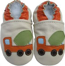 carozoo cement truck cream 2-3y soft sole leather toddler shoes