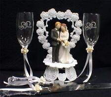 IVORY  Wedding Gift LOT Heart to Heart Cake Topper Toasting Glasses Server set