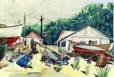 + 1943 WARREN G. THOMAS - Watercolor Boatyard w. Huts - Signed & Dated