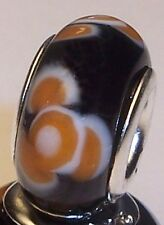 Orange Black White Flower Murano Glass Bead fits Silver European Charm Bracelets
