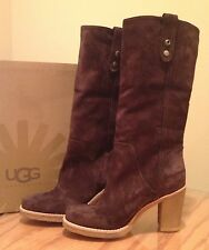 UGG JOSIE BROWN Stout 3214 Suede Tall Fashion Boots SZ 8 Authentic NEW