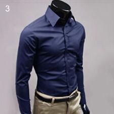 Cn _ Hombre Lujo Camisa Formal Entallado Manga Larga Vestido de Trabajo Top P