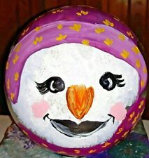 Gazing Ball Hand Painted Garden Art Decor Old Woman Babushka Grandmother Face