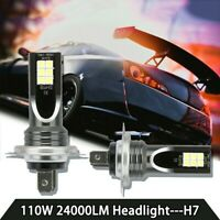 2Pcs H7 110W 24000Lm LED Car Headlight Conversion Globes Bulb Beam 6000K Set NEW