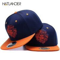 Hat Snapback Cap Hip Hop Baseball Flat Adjustable Lion Head Embroidered Men Hats