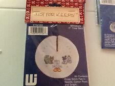 "NIP Just for Keeps 7"" Xmas Tree Skirt & Ornaments Cross Stitch Kits w/Baby Theme"
