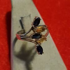Real Sapphire / Citrine  Ring Size 8