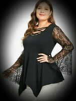 New Black Gothic Empire Line Lace Sleeve Hanky Hem Blouse Top size 3XL 20 22 24