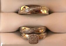 His Her Mens Woman Lab Diamond Wedding Ring Bands Trio Bridal Set White Gold Fn