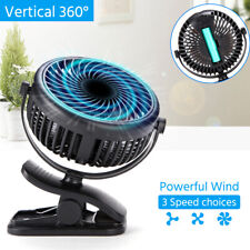 3 Speeds USB Rechargeable Mini Cooling Fan Clip On Stroller Portable + Batterry
