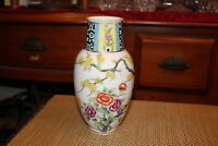 Nippon Hand Painted Vase Colorful Flowers Tree Branches Porcelain Vase