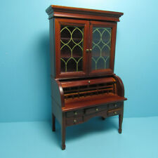 Dollhouse Miniature Mahogany Desk with Many Drawers and Cabinet ~ T346