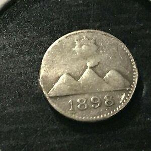 1898 GUATEMALA SILVER 1/4 REAL VOLCANO  COIN