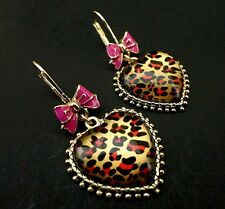 New Betsey Johnson LEOPARD HEART BOW Earrings MSRP $35.00