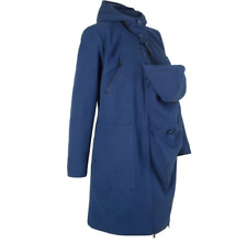 Versatile Cobalt Blue Hooded Materinty Coat with Removable Baby Pouch size 16