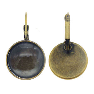 6 Pairs Bronze Round Bezel Tray Glass Cabochons Earrings Ear Clips Post Jewelry