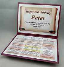 HAPPY 30TH  BIRTHDAY  GIFT- THE DAY YOU WERE BORN - IDEAL KEEPSAKE.