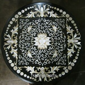 24 Inches Marble Coffee Table Top Floral Pattern Patio Sofa Table with MOP Work