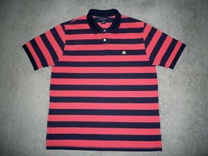 Men's BROOKS BROTHERS Performance Knit Polo XL BLUE & CORAL Striped w/BB Logo