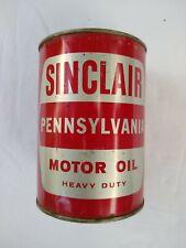 Sinclair Pennsylvania Heavy Duty Motor Oil Metal Quart Can FULL