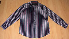 New Men's Shirt Sz L Structure Neck 17.5 in Sleeve 32.5 in Casual Striped Black