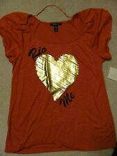 """Style & Co. Cap Sleeve top Orange with Gold Heart """"Rio Me"""" Buy Now: $9.99"""