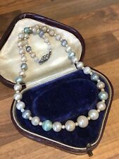 Bead Necklace W/ Engraved Silver Clasp Vintage Multi Pastel Color Faux Pearl