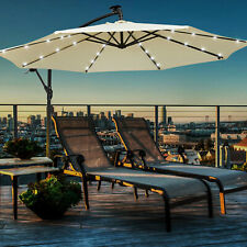 More details for 3m banana parasol sun shade patio hanging umbrella cantilever 32led garden beige