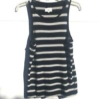 "Lou & Grey Womens Small Striped Signature Soft  Tank Top Black Stretch 34"" Bust"