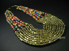 N4136 Ethnic BONE Gold Metal beads multi COLOR strand Tribal Fashion NECKLACE