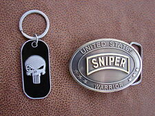 U.S .SNIPER PUNISHER KEY RING and SNIPER SPECIAL FORCES Brass Plated Belt Buckle