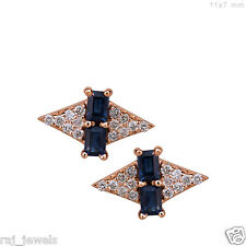 Sapphire Gemstone Solid 18k Rose Gold Stud Earrings Pave Natural Diamond Jewelry