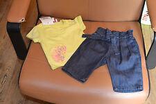 pantalon baby dior 3 mois bleu jean+TEE SHIRT confetti neuf jaune 3 mois P GRATU