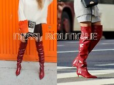 ZARA GATHERED LEATHER OVER THE KNEE HIGH HEEL BOOTS RED EU 37/ UK 4  /USA 6.5