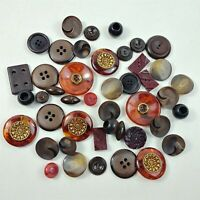 Button Lot Vintage Brown & Black Large Round Plastic & Wood Buttons Mixed Lot