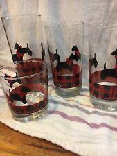 "(4) ""Fitz"" Drinking Glasses Scotty Dogs Tartan Plaid Terrier"