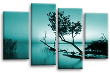 Floral Landscape Wall Art Picture Teal Grey Lake Trees Canvas White Split Panel