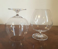 Large Pair Vintage Crystal Brandy Snifters Whiskey Blown Glass