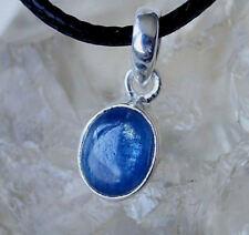 Klein Kettenanhänger Schlicht Elegant Silber Schimmer Kyanit Blau Cyanit Oval