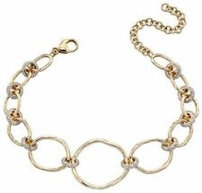 Elements Gold Womens Hammered Connector Bracelet - Gold/Silver