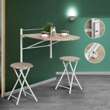 Wall Mounted Drop Leaf Portable Folding Dining Space-Saving Table & Chairs Set