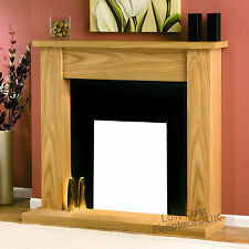 ELECTRIC OAK WOOD SURROUND HEARTH BLACK FLAT WALL FIRE FIREPLACE SET SUITE 48""