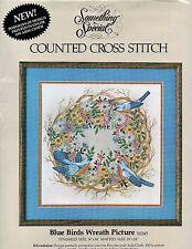 "Blue Birds Wreath Counted Cross Stitch Kit Candamar 50245 14"" x 14"""