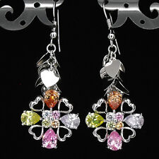 "2.15"" Floral Wedding Party Lady 18K W GP Chandelier Earrings Pairs CZ Multicolor"