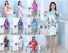Women Plain Silk Satin Robes Bridal Wedding Bridesmaid Bride Gown Kimono Robe