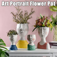 Portrait Ceramic Flower Pot Vase Nordic Art Human Face Sculpture Plant