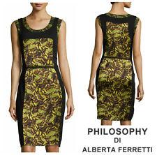 PHILOSOPHY DI ALBERTA FERRETTI *BUTTERFLY* SILK SHEATH  DRESS  Sz 2 4 40 $ 1,015